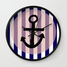 Nautical Anchor Blue White and Pink Wall Clock