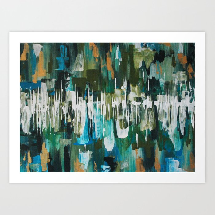 Acrylic Blue, Green and Gold Abstract Painting Art Print