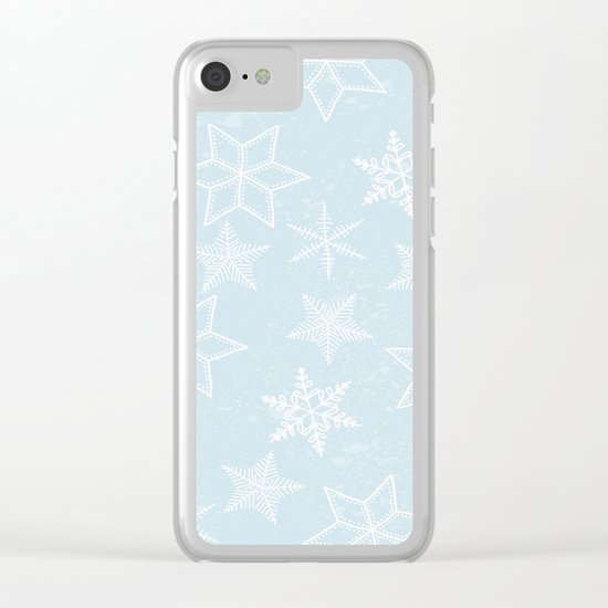 Snowflakes on light blue background Clear iPhone Case