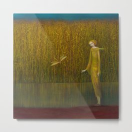 Dragonfly in Fields of Gold - Magical Realism Metal Print