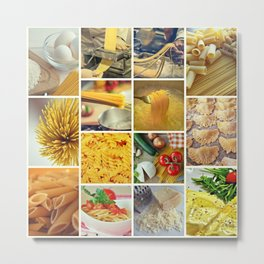 Pasta Collage - Cafe or Restaurant Decor Metal Print