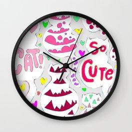 So Cute Cat Pattern Wall Clock