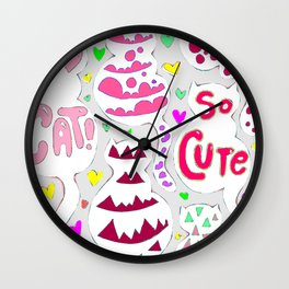 So Cute Cat Pattern Wall Clock