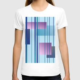 Stripes - squares in turquoise - blue - purple Design T-shirt