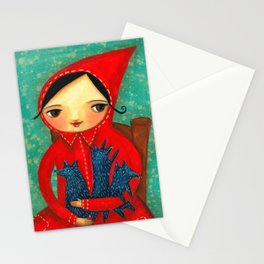 Little Red Riding Hood with pack of baby wolves Stationery Cards