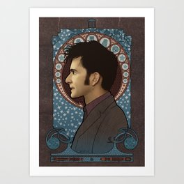 10th Doctor art nouveau , Doctor Who , TARDIS Art Print