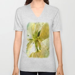 Pale Yellow Poinsettia 1 Sketchy Unisex V-Neck