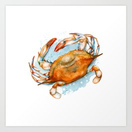 Watercolor Soft shell crab Art Print