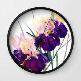 Deep Purple Flowers, Irises Wall Clock