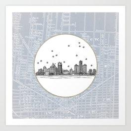 Detroit, Michigan City Skyline Illustration Drawing Art Print