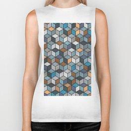 Colorful Concrete Cubes - Blue, Grey, Brown Biker Tank
