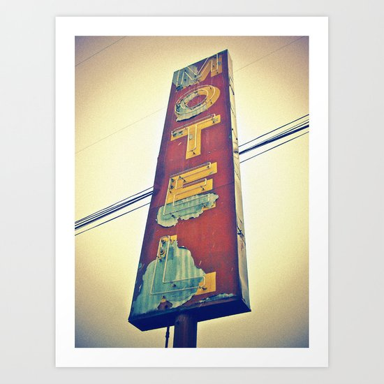 Motel Americana sign Art Print