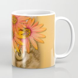 Tabby Cat with Daisy Flower Crown, Mustard Yellow Background Coffee Mug