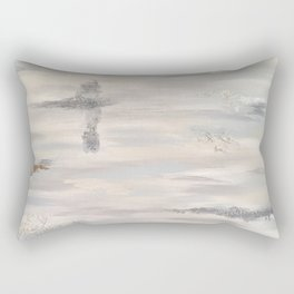 Neutral Driftwood Light Gray Abstract Beachy Painting Rectangular Pillow