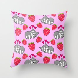 Cute funny sweet adorable sleeping baby raccoons, little pink hearts and red ripe summer strawberries cartoon light pastel pink pattern design Throw Pillow
