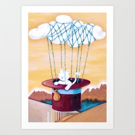 The cat traveling in dreams Art Print