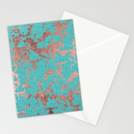 Modern turquoise glitter faux rose gold marble Stationery Cards