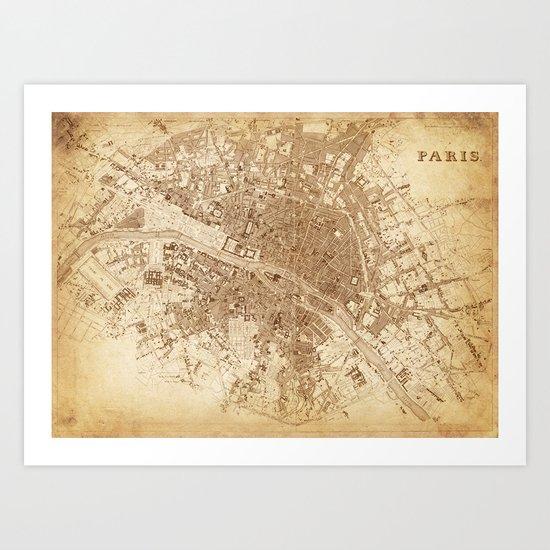 map of Paris 1843 Art Print