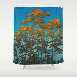 Vintage Japanese Woodblock Print Shower Curtain