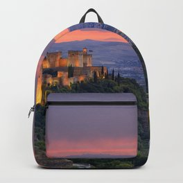 The alhambra and Granada city at sunset Backpack