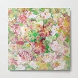Colorful Flowers Collage Pattern Metal Print