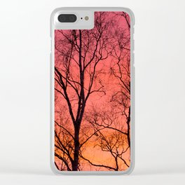 Tree Silhouttes Against The Sunset Sky #decor #society6 #homedecor Clear iPhone Case