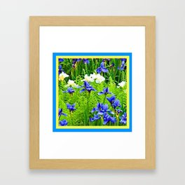 WHITE-BLUE IRIS & FERNS GARDEN Framed Art Print