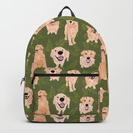 Ferns and Golden Retrievers on Green Backpack