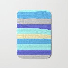 Ocean Blue Painter's Stripes Bath Mat