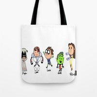 teen titans Tote Bags featuring one direction as the teen titans by Muggle Merch
