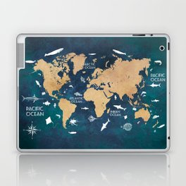 World Map Oceans Life blue #map #world Laptop & iPad Skin