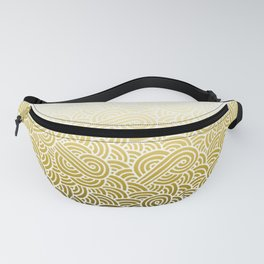 Faded yellow and white swirls doodles Fanny Pack