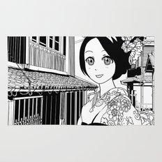 Kimono girl (manga style drawing) Rug