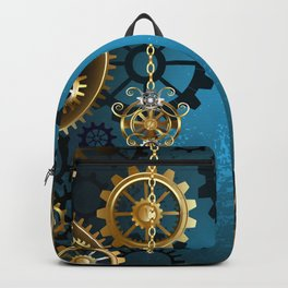 Turquoise Background with Gears ( Steampunk ) Backpack
