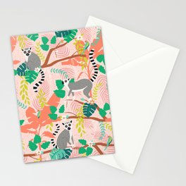 Lemurs in Pink Jungle Stationery Cards
