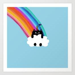 Cat Rainbow Art Print