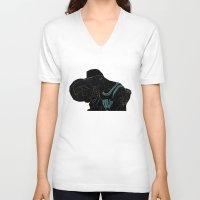 work hard V-neck T-shirts featuring HARD WORK by Asta Dagmar