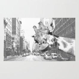 Black and White Selfie Giraffe in NYC Rug