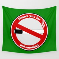 smoking Wall Tapestries featuring No Smoking by mailboxdisco