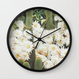 Cactus and Flowers Wall Clock