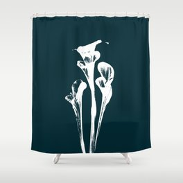 Calla Lily - Navy Shower Curtain