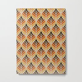 Retro Flower Pattern Metal Print