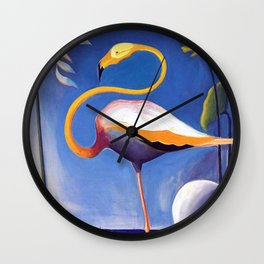 Flamingo and Egret with Lilies and Calla Lilies by Joseph Stella Wall Clock