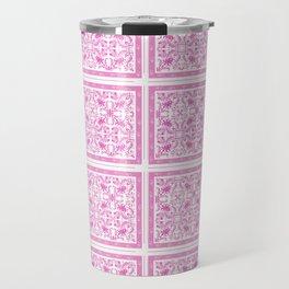 Traditional White and Pink Toileprint patterns Travel Mug