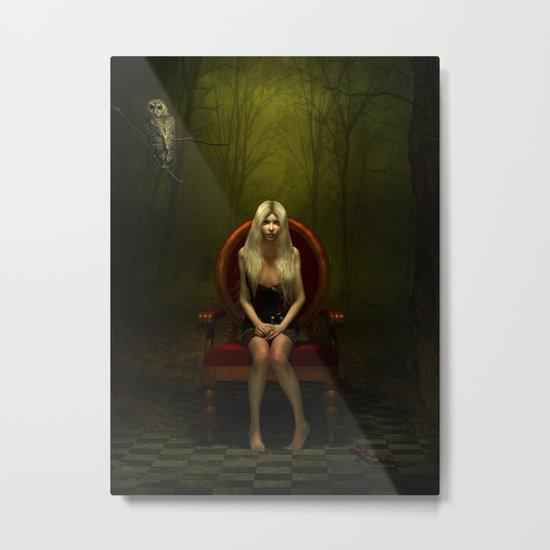 Dark wonderland Alice on a red chair Metal Print