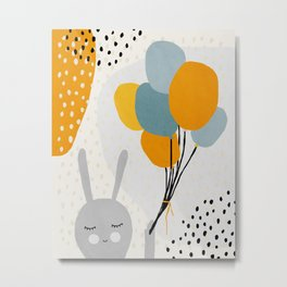 Rabbit, Ballons, Mid century modern kids wall art, Nursery room Metal Print