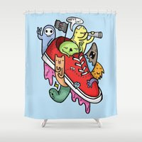 vans Shower Curtains featuring shoe pirates by ybalasiano