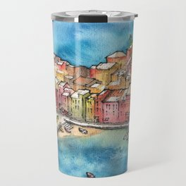 Cinque Terre ink & watercolor illustration Travel Mug