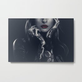 Tattoed girl with red lips Metal Print