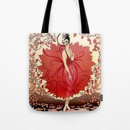 "Delightful Art Deco Illustration ""Blossoms"" Tote Bag"